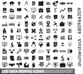 100 data mining icons set in... | Shutterstock .eps vector #680966509