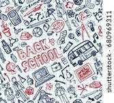 back to school supplies... | Shutterstock . vector #680969311