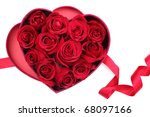 Stock photo rose petals in heart shaped box on white background 68097166