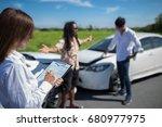 insurance agent writing on... | Shutterstock . vector #680977975