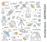 line web concept for astronomy. ...   Shutterstock . vector #680980264