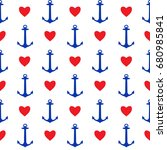 seamless pattern with anchors... | Shutterstock . vector #680985841