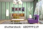 interior living room. 3d... | Shutterstock . vector #680999119