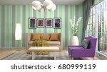 interior living room. 3d... | Shutterstock . vector #680999119
