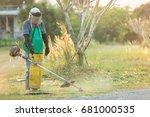 garden landscaper man mowing... | Shutterstock . vector #681000535