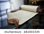 old scroll with the manuscript. ... | Shutterstock . vector #681001534