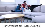 young couple relaxing at... | Shutterstock . vector #681003751