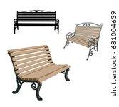 set of black silhouettes bench... | Shutterstock .eps vector #681004639