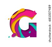 paper cut letter g. realistic... | Shutterstock .eps vector #681007489