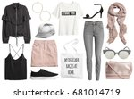 set of stylish clothes woman... | Shutterstock . vector #681014719