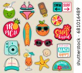 set of fashion patches  cute... | Shutterstock .eps vector #681016489