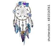 hand drawn ornate dream catcher ... | Shutterstock .eps vector #681016561