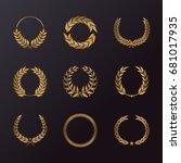 laurel wreath icons with... | Shutterstock .eps vector #681017935