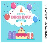 happy birthday to you with cake ... | Shutterstock .eps vector #681025111
