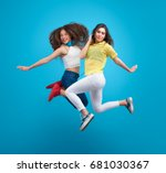 two young stylish girls jumping ... | Shutterstock . vector #681030367