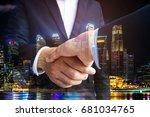 double exposure of business... | Shutterstock . vector #681034765