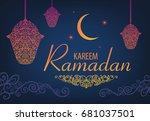 raster copy ramadan kareem... | Shutterstock . vector #681037501