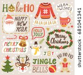 vector set of holiday labels... | Shutterstock .eps vector #681041341