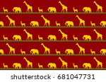 african yellow and brown... | Shutterstock .eps vector #681047731