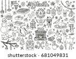 christmas  season doodle set... | Shutterstock . vector #681049831