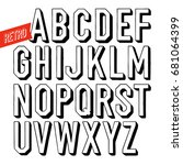 handmade retro font. black... | Shutterstock .eps vector #681064399