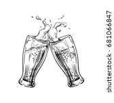 two glasses of beer clink at a... | Shutterstock .eps vector #681066847