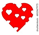 red heart with holes vector   Shutterstock .eps vector #681067975