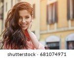 beautiful tourist in italy....   Shutterstock . vector #681074971