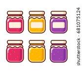 bright cartoon jam icon set.... | Shutterstock .eps vector #681075124