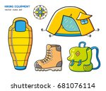 sleeping bag  camping tourist... | Shutterstock .eps vector #681076114