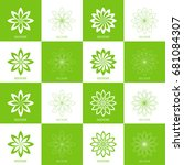 set abstract vector logo lotus... | Shutterstock .eps vector #681084307
