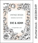 vintage wedding invitation... | Shutterstock .eps vector #681084349