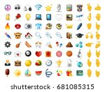 set of realistic cute icons on... | Shutterstock .eps vector #681085315