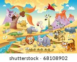 Stock vector savannah animal family with background funny cartoon and vector illustration isolated objects 68108902