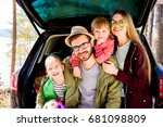 family going on a car trip | Shutterstock . vector #681098809