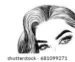 gorgeous women with long... | Shutterstock .eps vector #681099271