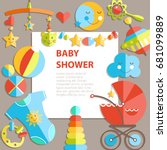 vector flat infancy background. ... | Shutterstock .eps vector #681099889