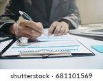 insurance agent holding pen... | Shutterstock . vector #681101569