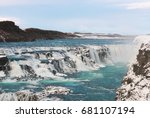 gulfoss  golden waterfall and... | Shutterstock . vector #681107194