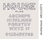 house plan typeface. detailed... | Shutterstock .eps vector #681113371