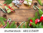 green branches of christmas... | Shutterstock . vector #681115609