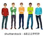 beautiful young men in casual... | Shutterstock .eps vector #681119959