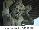 big statue of Samson - stock photo