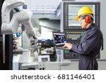 maintenance engineer using... | Shutterstock . vector #681146401