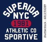 varsity athletic illustration ... | Shutterstock .eps vector #681153289