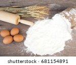 baking ingredients on wooden... | Shutterstock . vector #681154891