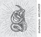 viper snake. hand drawn... | Shutterstock .eps vector #681154909