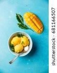 mango ice cream sorbet with... | Shutterstock . vector #681166507