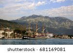 Small photo of TIVAT, MONTENEGRO - JUNE 30, 2017: Italian Navy three - masted training barquentine Palinuro at the port of Tivat. Named after Palinurus, the famous helmsman of Aeneas's ship. Commissioned in 1934.