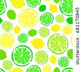 lemons limes background. fruit... | Shutterstock .eps vector #681170845